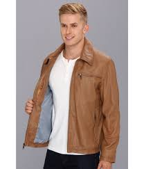 marc york marc york garner leather jacket in brown for lyst