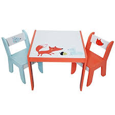 playroom table and chairs amazon com labebe wooden activity table chair set fox printed