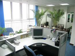 professional cubicle decor with white desk and office chair and