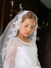 1st communion veils scalloped floral edging mantilla veil