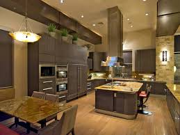 contemporary kitchen with high ceilings light floors and