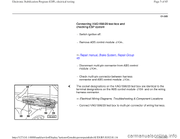 audi a4 1998 b5 1 g brakes esp electrical testing workshop manual