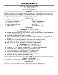 Front Desk Medical Office Jobs Resume Sample For Front Desk Receptionist Medical Secretary Resume