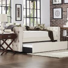 Tufted Daybed With Trundle Home Knightsbridge Tufted Nailhead Daybed With Trundle In Beige