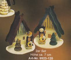 handcrafted german gifts erzgebirge house tree ornaments set of