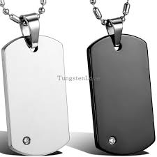 dog tag pendant necklace images High quality free chain fashion men 39 s tungsten carbide dog tag jpg