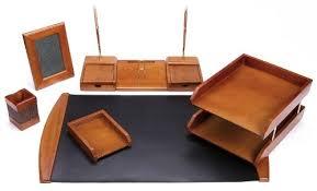 Wooden Desk Accessories Majestic Goods Six Brown Oak Wood Desk Set
