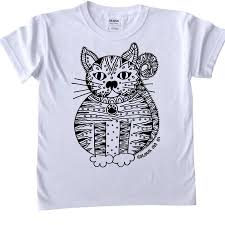 drawstring bag to colour in with cat by pink pineapple home