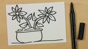 how to draw a plant pot with two flowers easy cartoon doodle for