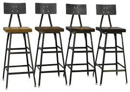 Reclaimed Wood Bar Stool Set Of 4 Reclaimed Industrial Modern Salvaged Barn Wood