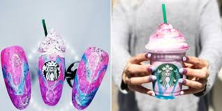 people are creating unicorn frappuccino nail art to match the