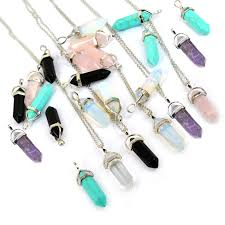 crystal necklace stone images Ywnz2015 55 bullet shape natural stone real amethyst necklaces jpg