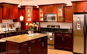 Barnwood Kitchen Cabinets Dark Cherry Wood Kitchen Cabinets Beige Tile Ceramic Flooring