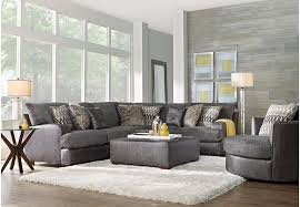Coffee Table Rooms To Go Skyline Drive Gray 3 Pc Sectional Living Room Living Room Sets