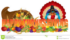 happy thanksgiving text with cornucopia pilgrim turkey stock