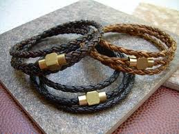 leather wrap bracelet men images Mens triple wrap braided leather bracelet with raw brass magnetic jpg