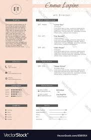 Adobe Illustrator Resume Template Vestor Creative Resume Template Minimalist Style Vector Image
