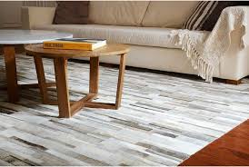 Patchwork Area Rug Patchwork Cowhide Rug In Stripes Of Gray Beige And White Shine Rugs