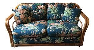 Upholstered Loveseat Chairs Vintage Rattan U0026 Tropical Print Fabric Upholstered Loveseat Chairish