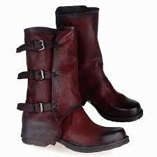 womens boots mid calf brown handmade belt buckle boots genuine leather warm winter