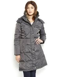 london fog faux fur trim long hooded puffer coat in metallic lyst