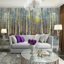 home decor living room tv wall papers 3d snow birch tree forest