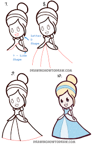 how to draw cute baby chibi cinderella easy step by step drawing