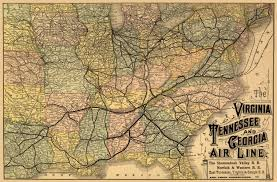 Map Tennessee Old Railroad Map Virginia Tennessee Georgia 1882