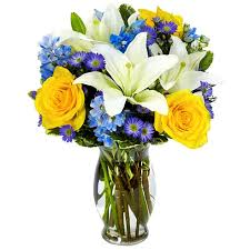 cheap flower delivery blue hues flower bouquet at send flowers