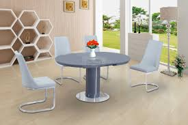 roberto grey high gloss and glass round extending dining table
