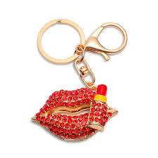 red key rings images Qcooljly new red lips lipstick keychains creative key chains women jpg