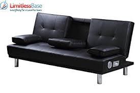 Modern Designer  Seater Faux Leather Sofa Bed Built In Bluetooth - Sofa bed designer