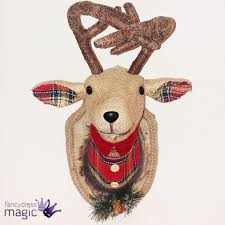 Christmas Reindeer Head Wall Decoration by Gisela Graham Tartan Reindeer Stag Head Plaque Wall Hanging