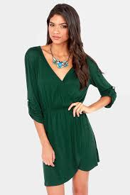 cute dark green dress wrap dress tulip dress 33 00