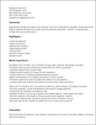 Resume Samples For College Student by Professional College Counselor Templates To Showcase Your Talent