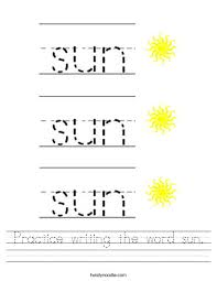 practice writing the word sun worksheet twisty noodle