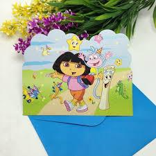 template simple customized dora birthday invitations with photo