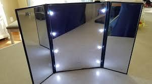 tri fold mirror with lights tri fold illuminated makeup mirror genuine gianna