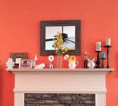 my own spring and summer mantel wet coral paint by behr yellow