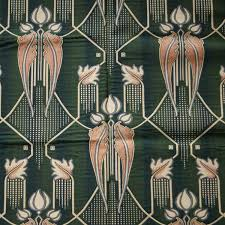 Fabric For Curtains And Upholstery Art Deco Art Nouveau Green Flat Weave Curtain And Upholstery