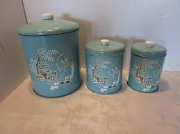 tin kitchen canisters vintage tin kitchen canisters set 3 containers turquoise 1950 60s