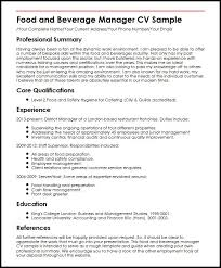 curriculum vitae format 2013 food and beverage manager cv sle myperfectcv