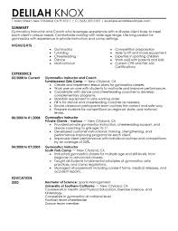 Training Resume Examples by Best Gymnastics Instructor Resume Example Livecareer