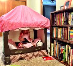 upscaled pack and play pack n play to fort tent reading nook