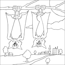 coloring page of a bat fruit colouring picture