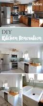 diy kitchen renovation painting oak cabinets butcher blocks and painting oak cabinets installing butcher block countertops farmhouse sink peel and stick glass tile new microwave and oven adding crown molding and new