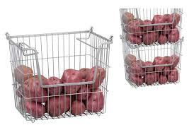 amazon com home basics stackable metal pantry organizer basket