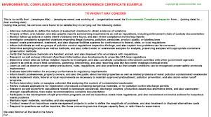 environmental compliance inspector work experience certificate