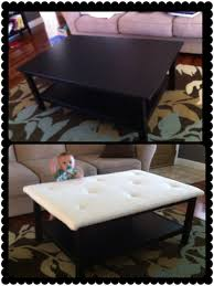 Diy Ottoman From Coffee Table by Coffee Table Turn An Ugly Coffee Table Into Diy Ottoman Homemade