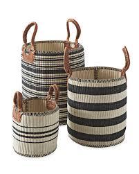 wicker basket with leather handles huntington baskets serena u0026 lily